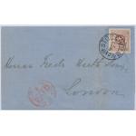 Sverige 20 öre dubbeltryck till Storbritannien 1877